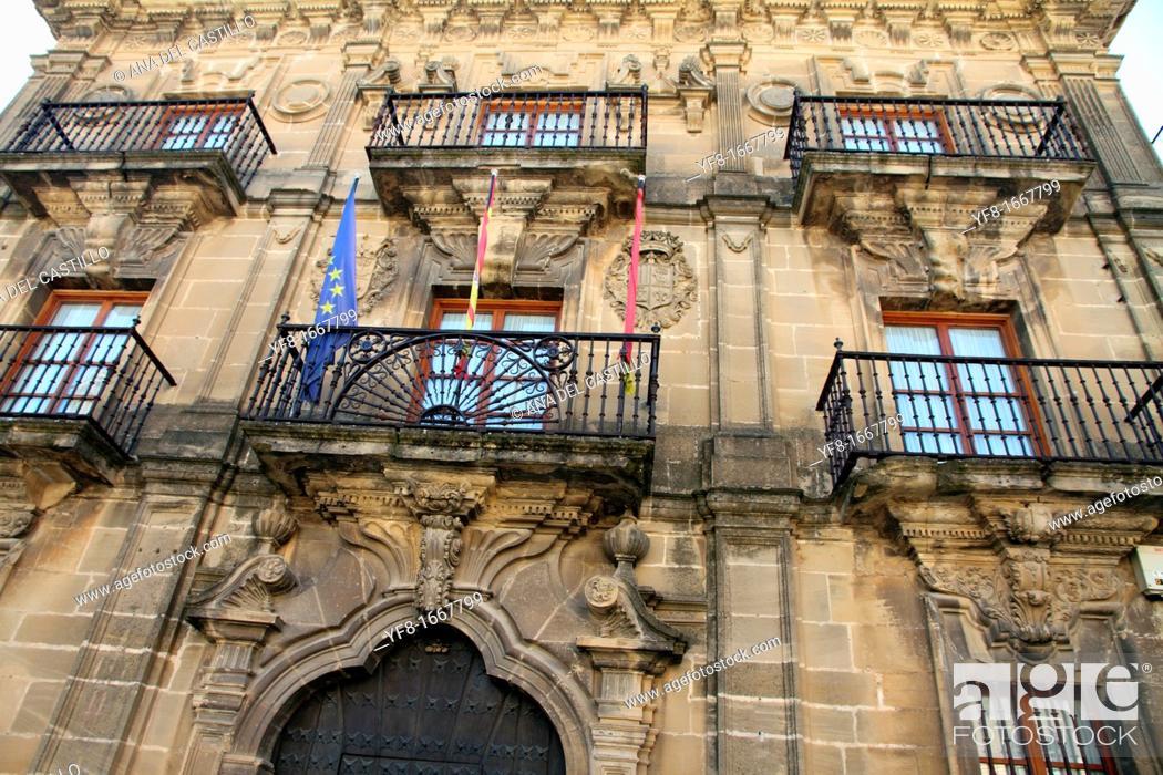 Stock Photo: Town hall building facade, Briones village, La Rioja, Spain.