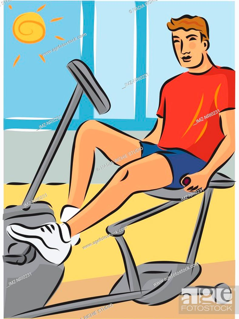 Stock Photo: Man exercising on a recumbent bike to reduce strain on his back.