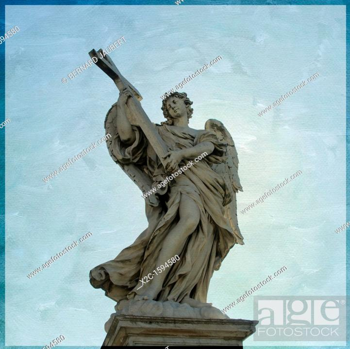Stock Photo: Angelo con la Croce or Angel with Cross, by Ercole Ferrata, Ponte Sant'Angelo, Saint Angel bridge, textured, Rome, Italy, Europe.