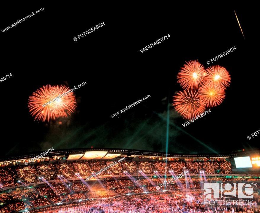 Stock Photo: scenery, cityview, fireworks, stadium, nightview, nature.
