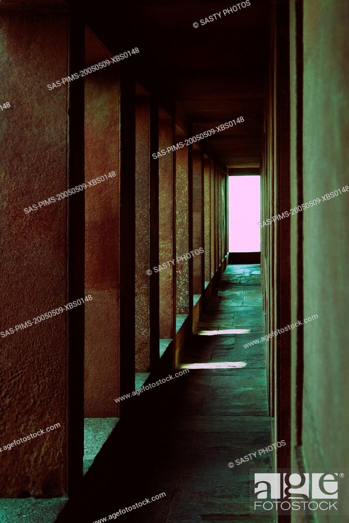 Stock Photo: Interiors of a corridor in a palace, Fatehpur Sikri, Agra, Uttar Pradesh, India.