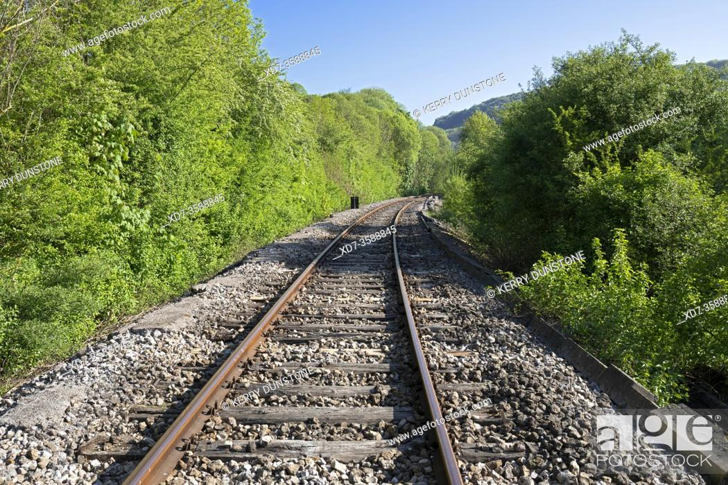 Stock Photo: Europe, Luxembourg, Colmar-Berg, Curved Railway Line.