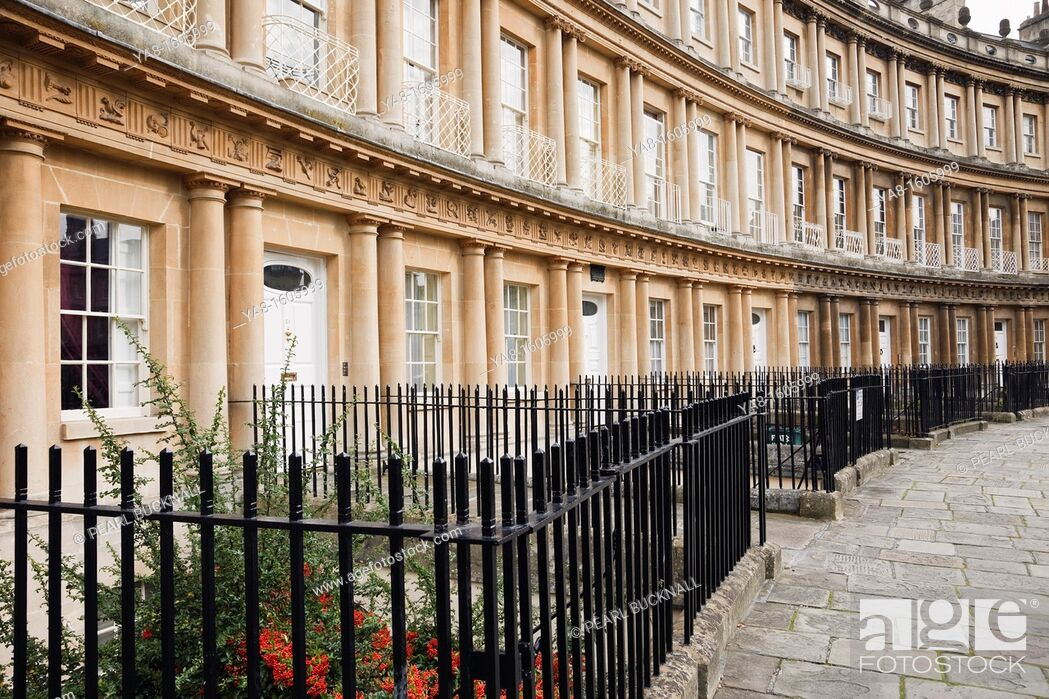 Stock Photo: The Circus, Bath, Somerset, England, UK, Britain, Europe  18th century crescent with curved Georgian terraced town houses with metal railings in front.