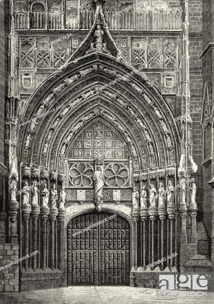 Stock Photo: Bishop door, Holy Church Cathedral of San Antolín. Palencia, Castilla y Leon. Spain. Old XIX century engraved illustration from La Ilustracion Española y.
