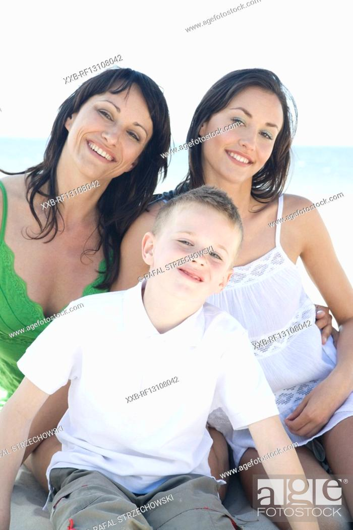 Stock Photo: mother with children on beach.