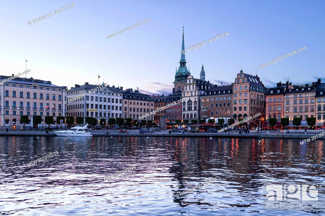 Stock Photo: Stockholm Cathedral at waterfront, Munkbroleden, Gamla Stan, Stockholm, Sweden.