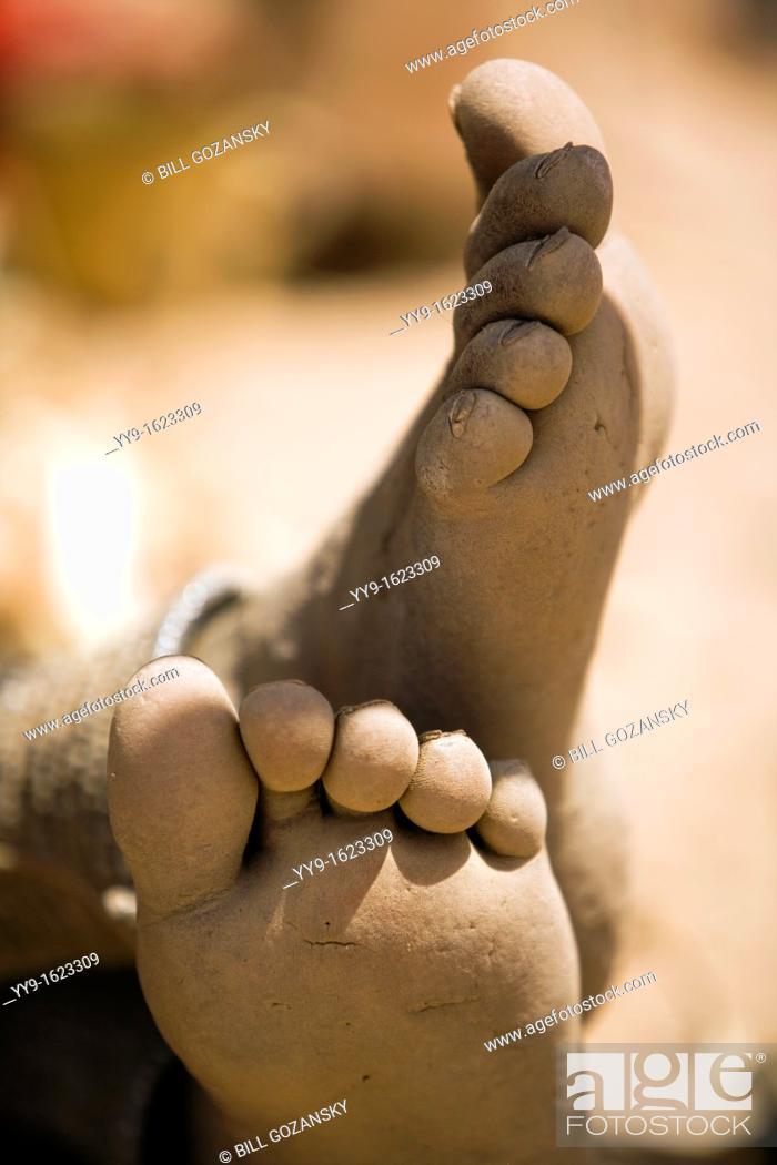 Stock Photo: Bare feet of Himba Woman - Orupembe Conservancy - Kaokoland, Namibia.