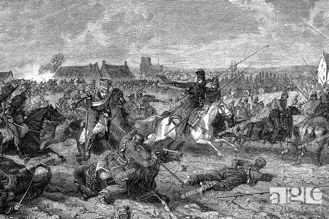 Stock Photo: Battle of Reims. 12th-13th March 1814. Napoleonic wars. Antique illustration. 1890.