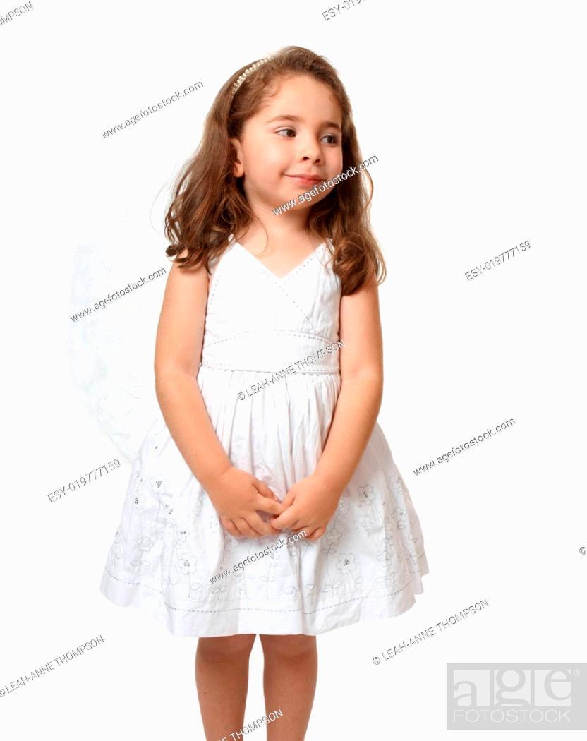 Stock Photo: Little white angel looking sideways.