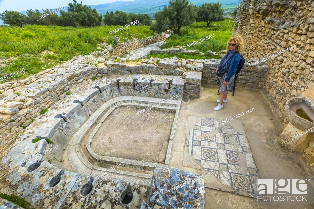 Stock Photo: Latrines. The bath of the Cyclopses. Dougga Roman city ruins. Tunisia.