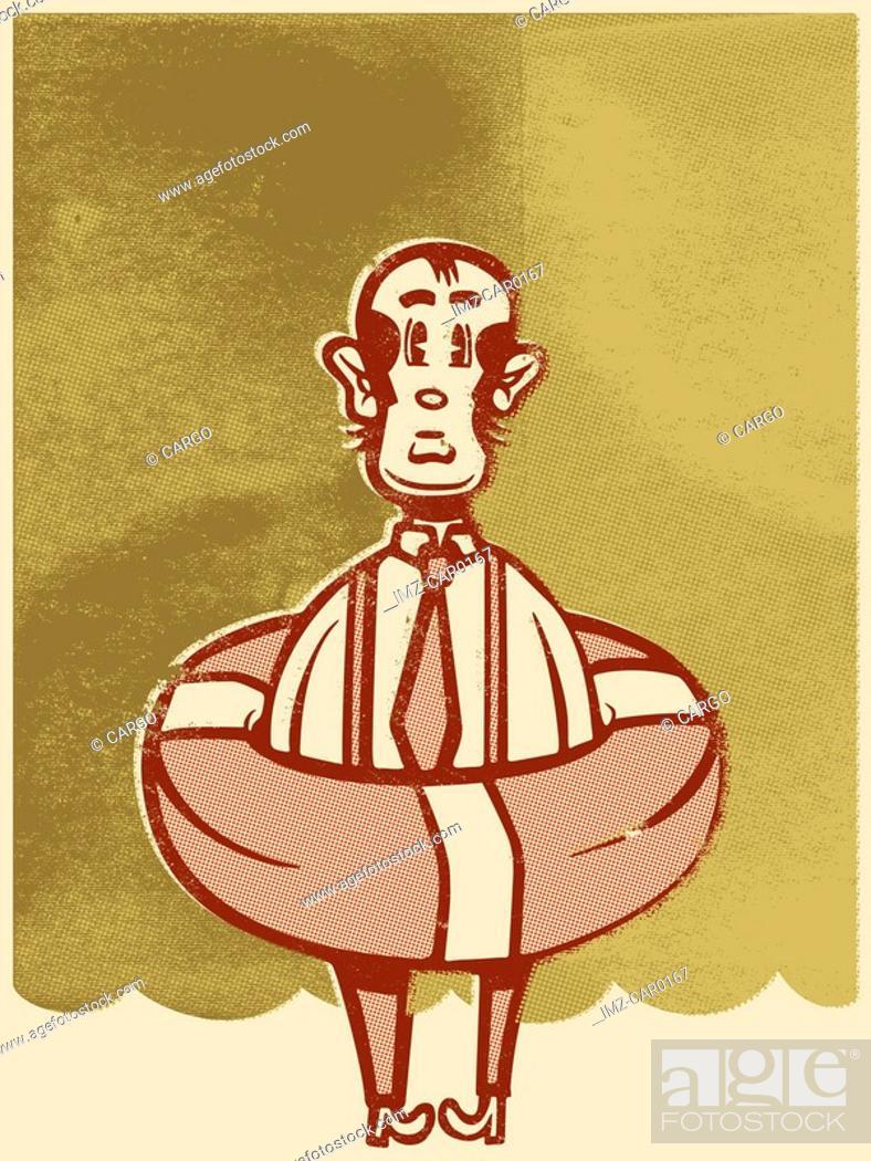 Stock Photo: Drawing of a man wearing a lifesaver.