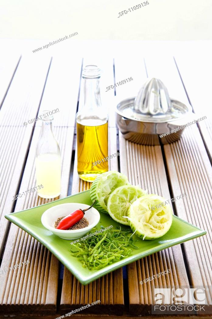 Stock Photo: Ingredients for lime dressing.
