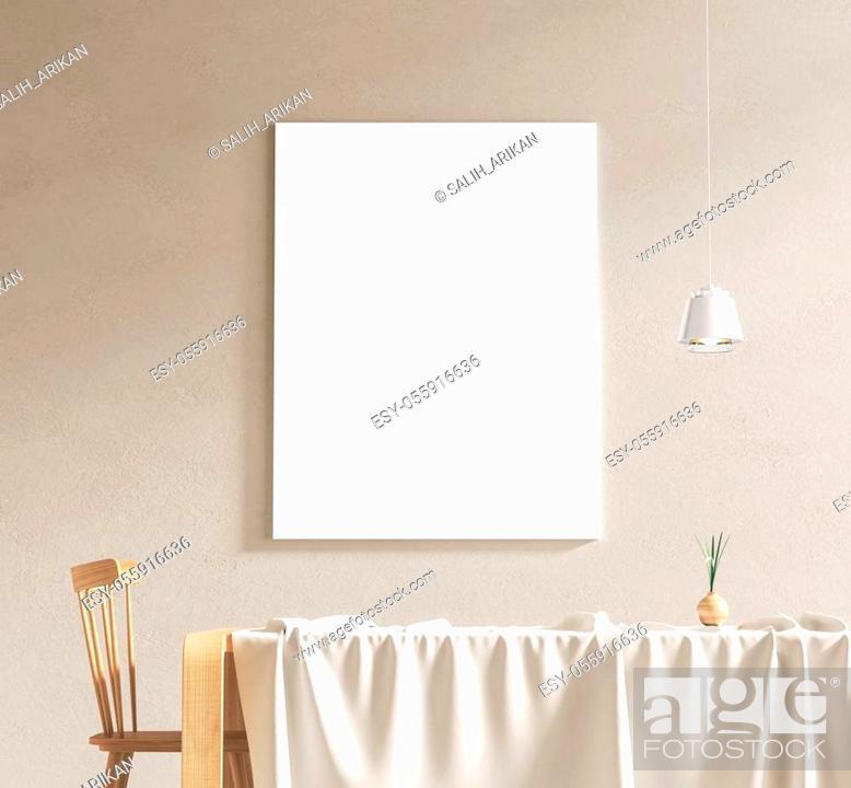 Stock Photo: Mock up poster frame in scandinavian style interior. Minimalist interior design. 3D illustration.