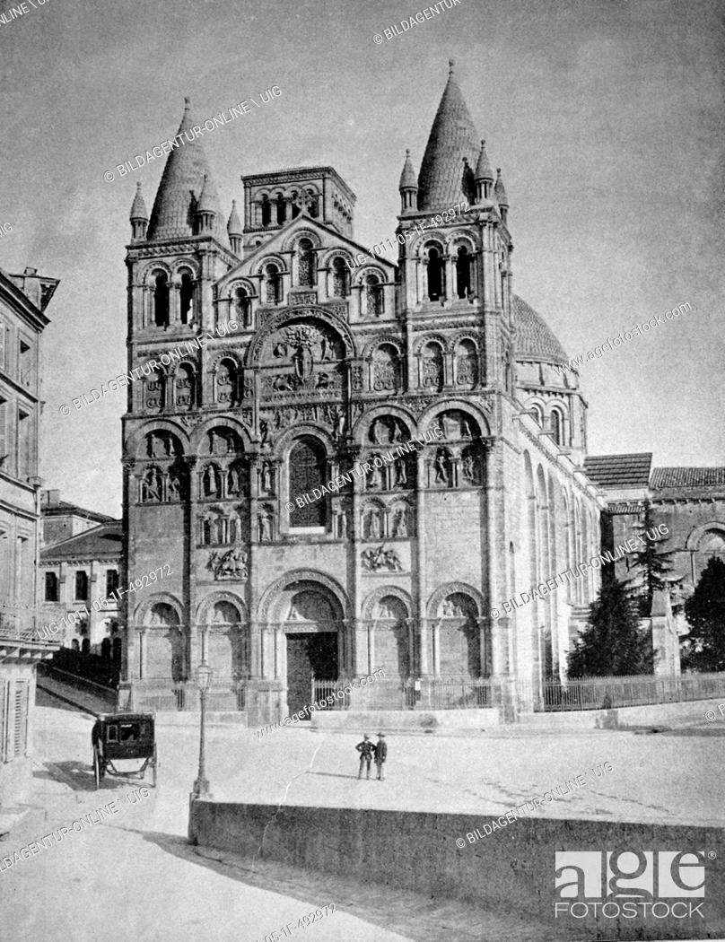 Stock Photo: Early autotype the angouleme cathedral, poitou-charentes, france, historical picture, 1884.