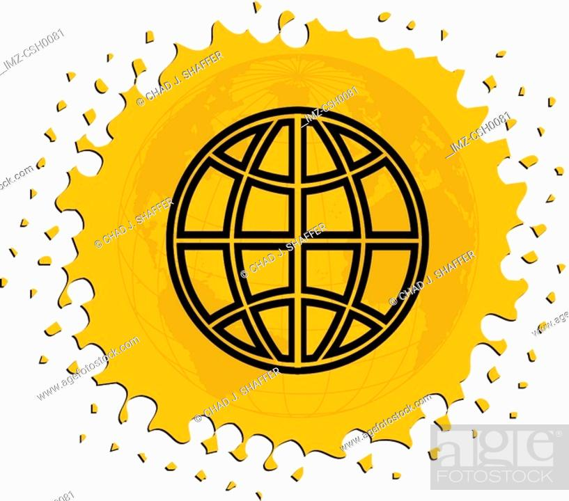 Stock Photo: Drawing of a globe on yellow background.