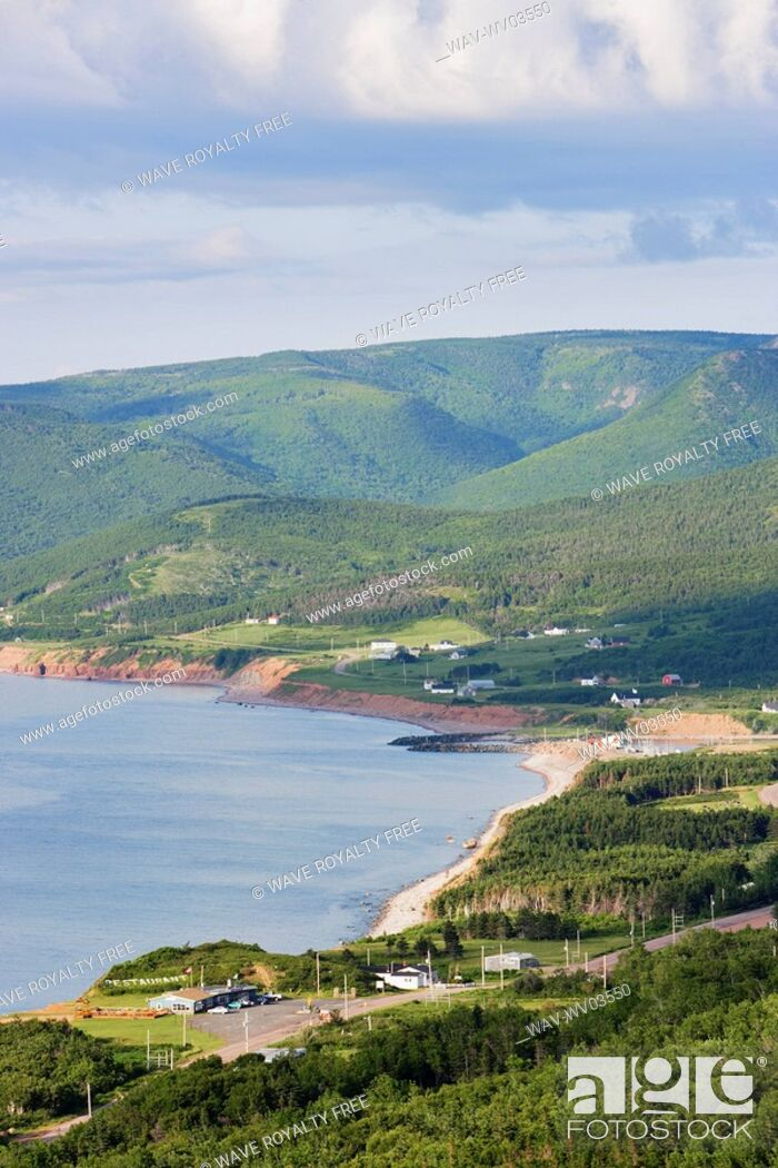 Stock Photo: View of village and Gulf of St  Lawrence, Cape Breton Highlands National Park, Nova Scotia, Canada.