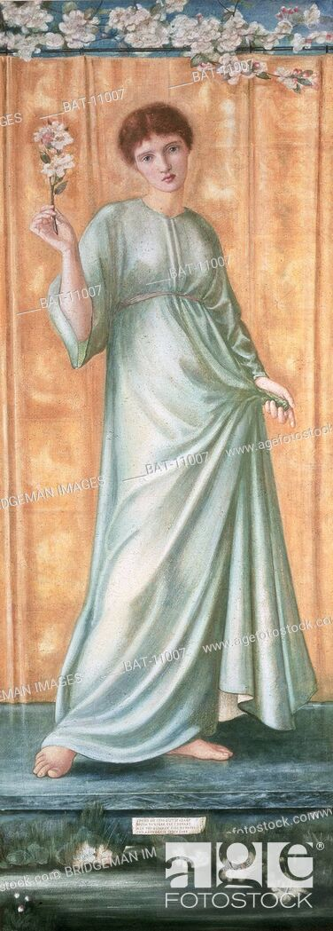 Stock Photo: Spring, 1869-70 (gouache on paper), Burne-Jones, Edward Coley (1833-98) / Private Collection / Roy Miles Fine Paintings / Bridgeman Images.