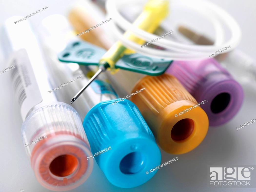 Stock Photo: A variety of medical samples including blood and chemistry with a blood collection set.