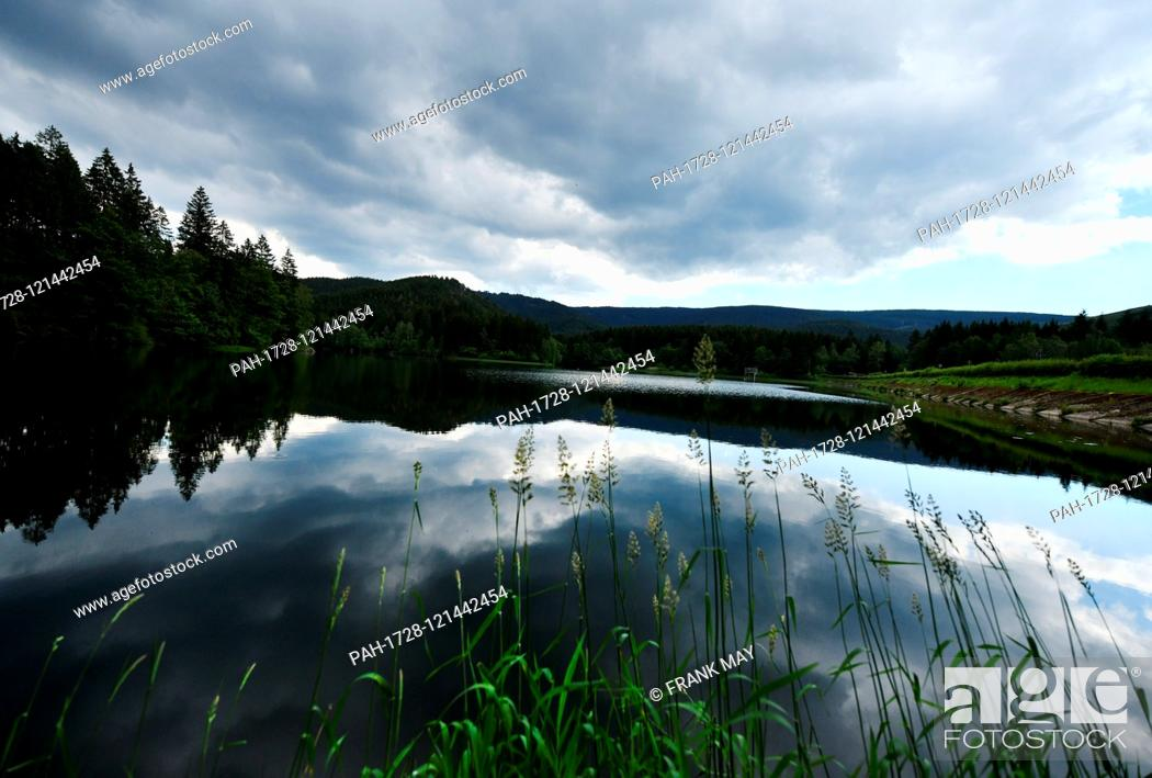 """Stock Photo: Water dam """"""""Soese"""""""", Germany, near city of Osterode, 17. June 2019. Photo: Frank May 