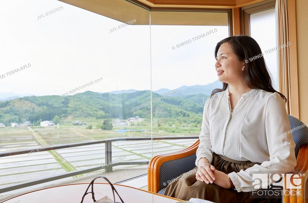 Stock Photo: Japanese woman at a traditional hotel.