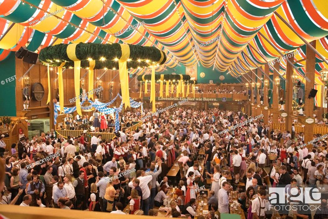 Stock Photo: Crowd in Beer tent at Oktoberfest, Munich, Germany.