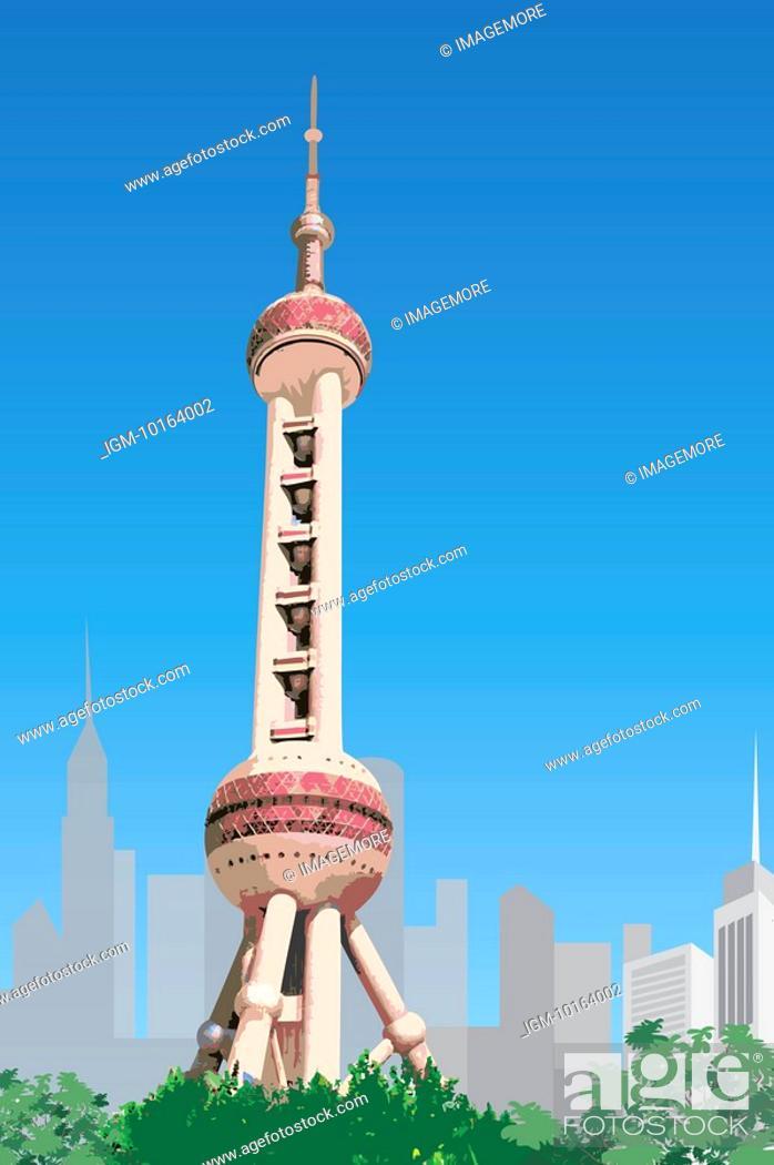 Stock Photo: China, Shanghai, Oriental Pearl Tower.