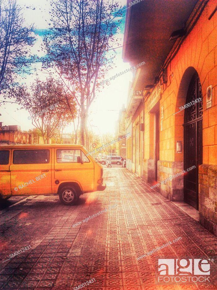 Stock Photo: Street Scene, Poblenou, 22@, Barcelona, Catalonia.
