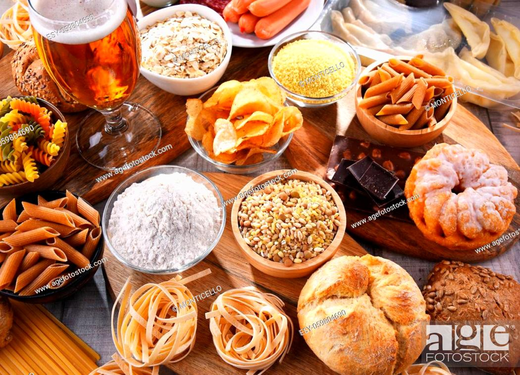 Stock Photo: Composition with variety of food products containing gluten.