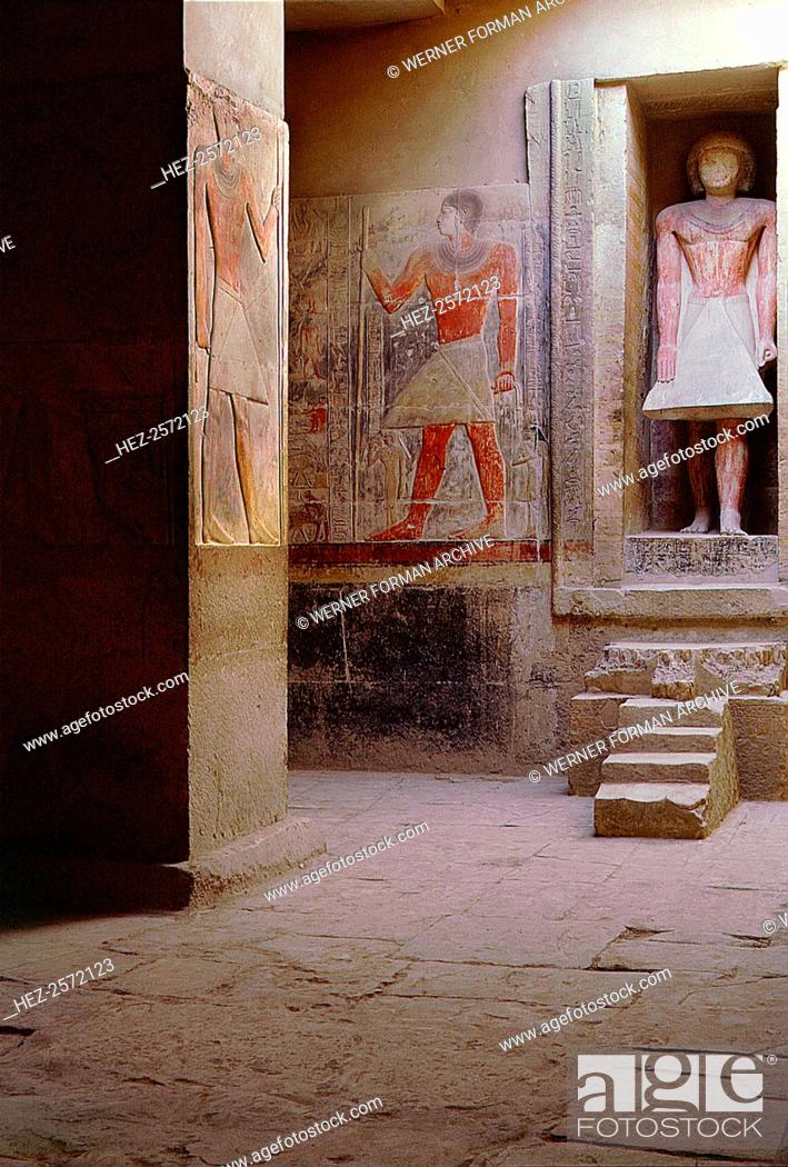 Within The Pillared Hall Is A Niche With An Offering Table And Statue Of Owner Country Origin Egypt Culture Ancient Egyptian