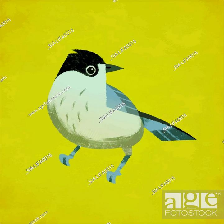 Imagen: Small bird against yellow background.