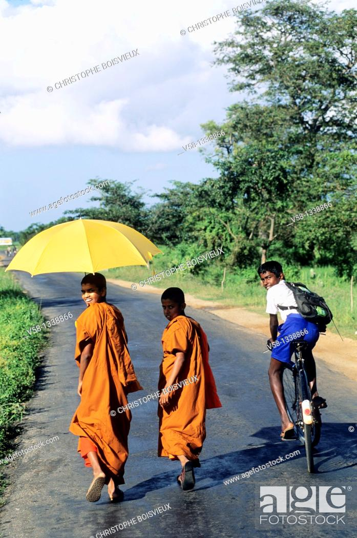 Stock Photo: Buddhist novices on the road to Polonnaruwa, Sri Lanka.