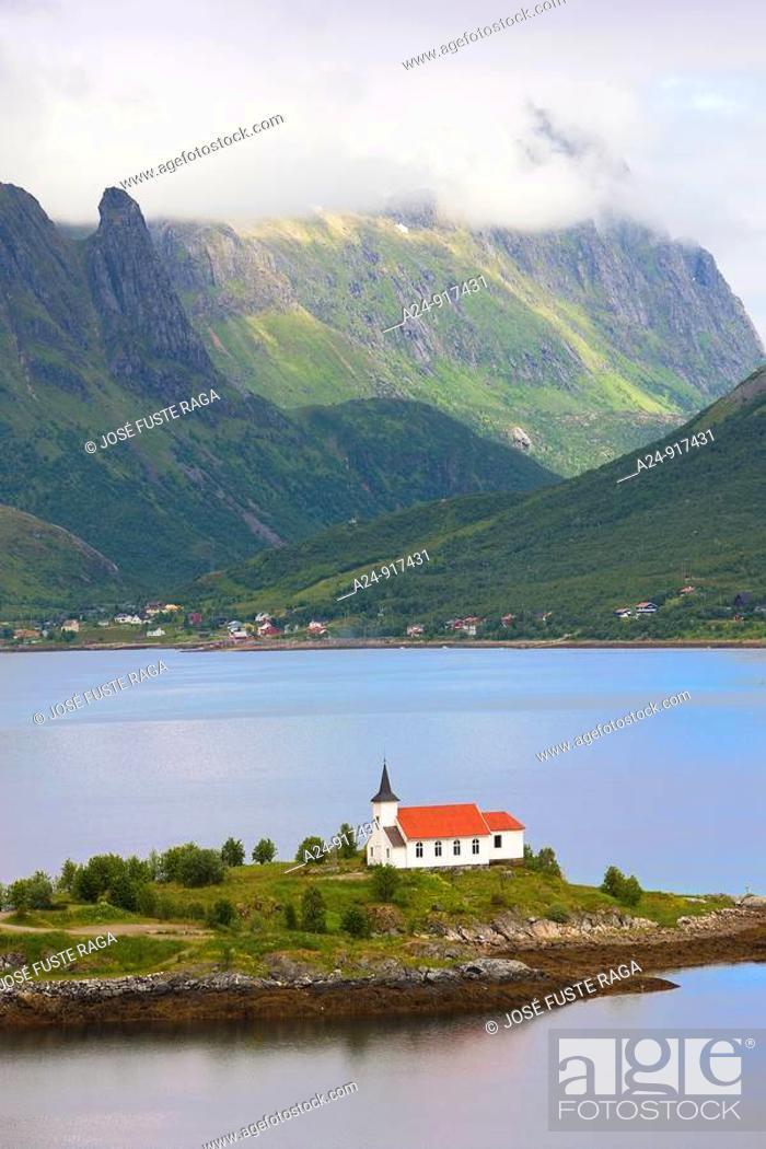 Stock Photo: Sildpollen church, Lofoten islands, Norway.