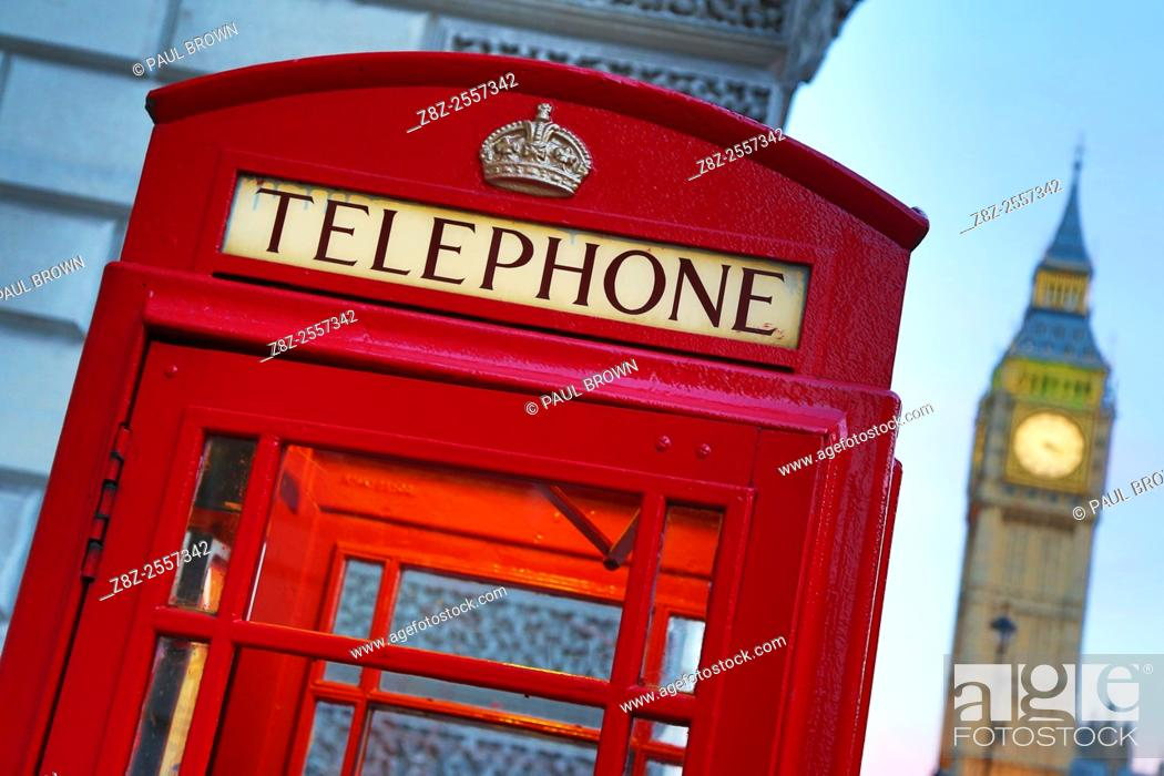 Stock Photo: Red London Telephone Box and Big Ben in London, England.