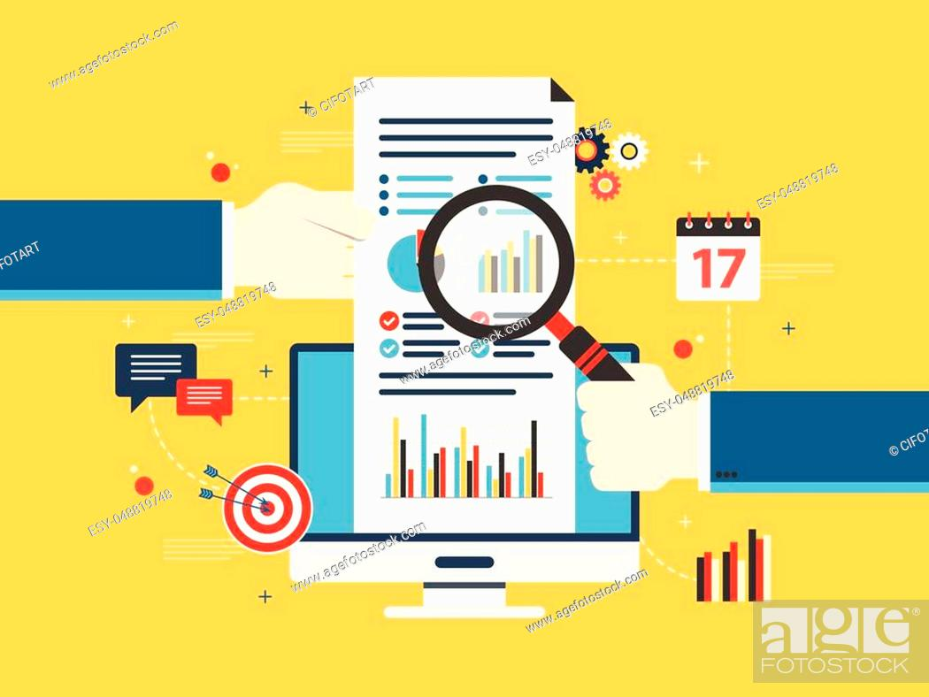 Stock Vector: Flat design vector illustration concept of financial investment, analytics with growth report. Security and cloud data. Calculations and graphs of gains on the.