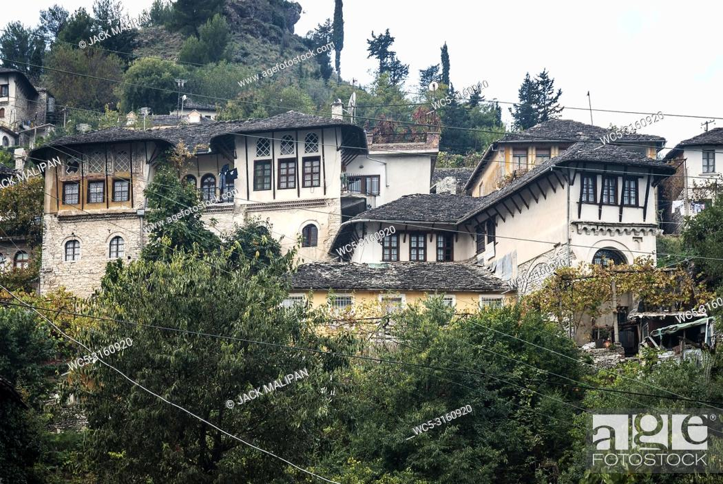 Stock Photo: Gjirokaster town balkan ottoman heritage architecture view in southern albania.
