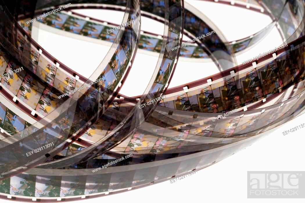 old positive 16 mm film strip on white background strip of tangled movie film place for copy and stock photo picture and low budget royalty free image pic esy 029113091 agefotostock 2