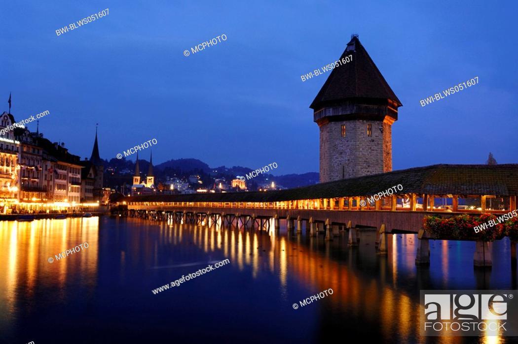 Stock Photo: Chapel Bridge and water towr at night, Switzerland, Lucerne.
