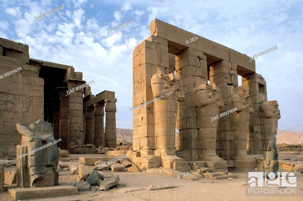 Stock Photo: Egypt - Ancient Thebes, Necropolis (World Heritage, Unesco, 1979) - The Ramesseum, the funerary temple of Ramses II, New Kingdom, Dynasty XIX.