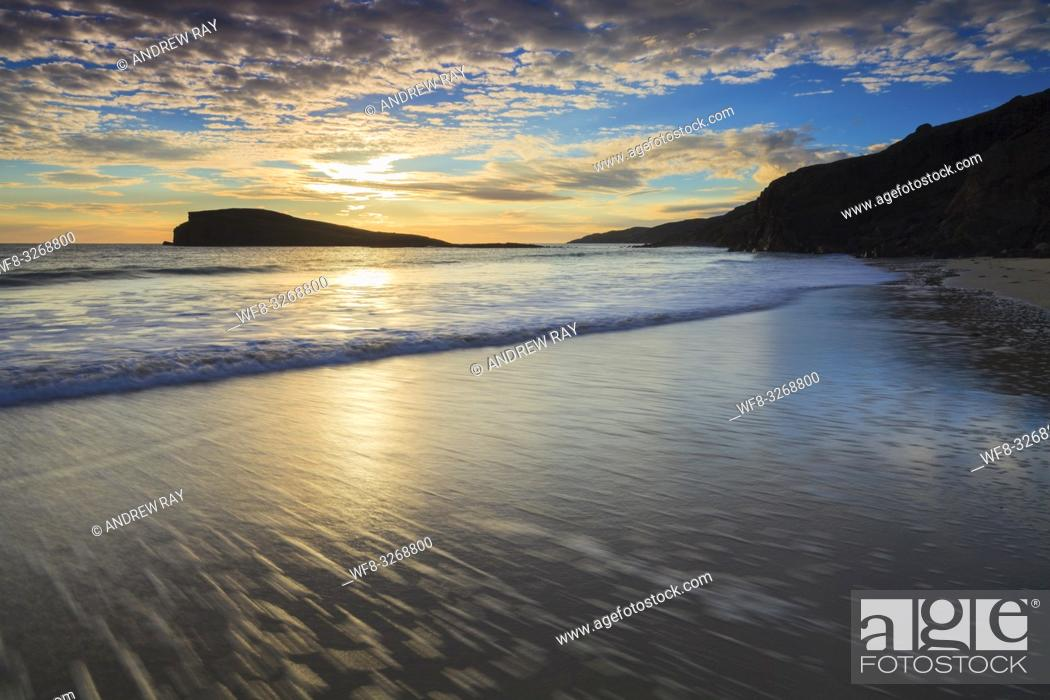 Stock Photo: The beach at Oldshoremore in the North West Highlands of Scotland, captured shortly before sunset in late October.
