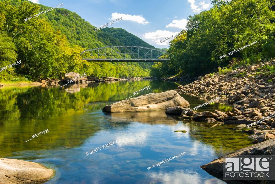 Stock Photo: Old New River Gorge Bridge down at river level near Fayetteville, West Virginia.