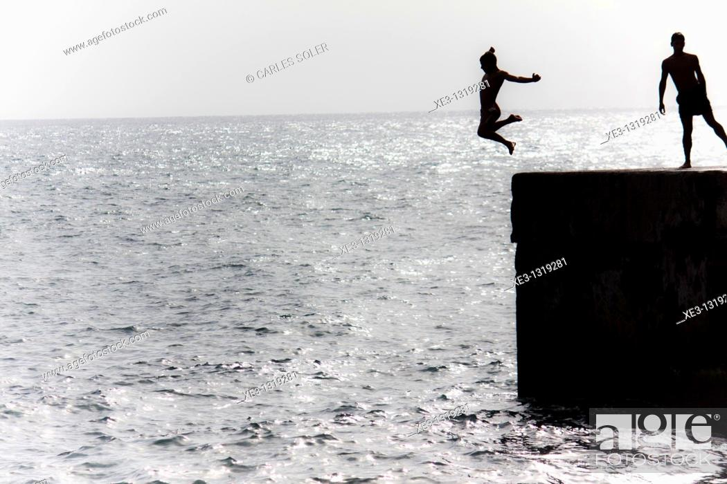 Stock Photo: Freestyle jumping.