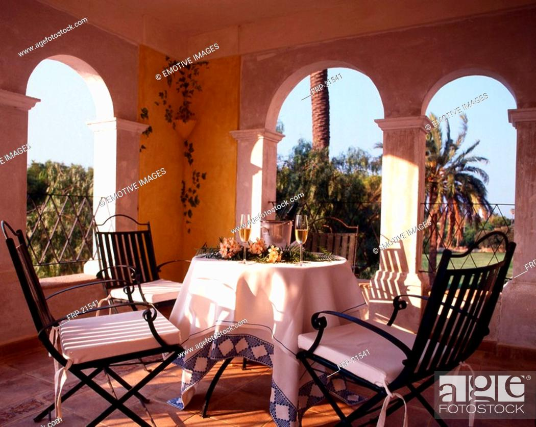 Stock Photo: Table and Chairs on southern Terrace.