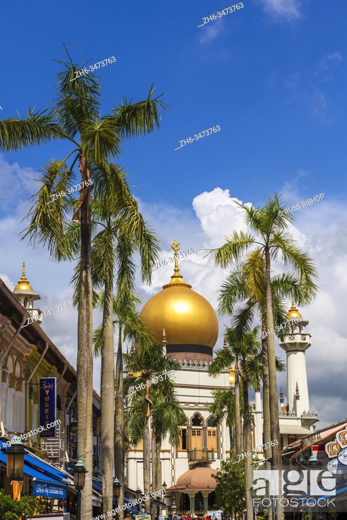 Imagen: Masjid Sultan mosque and shops on Arab Street in the Malay Heritage District, Singapore, Republic of Singapore.