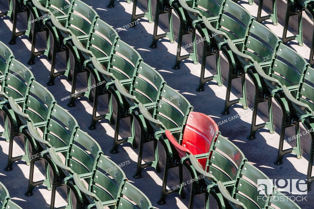 Stock Photo: The lone red seat in the right field bleachers (Section 42, Row 37, Seat 21) signifies the longest home run ever hit at Fenway.