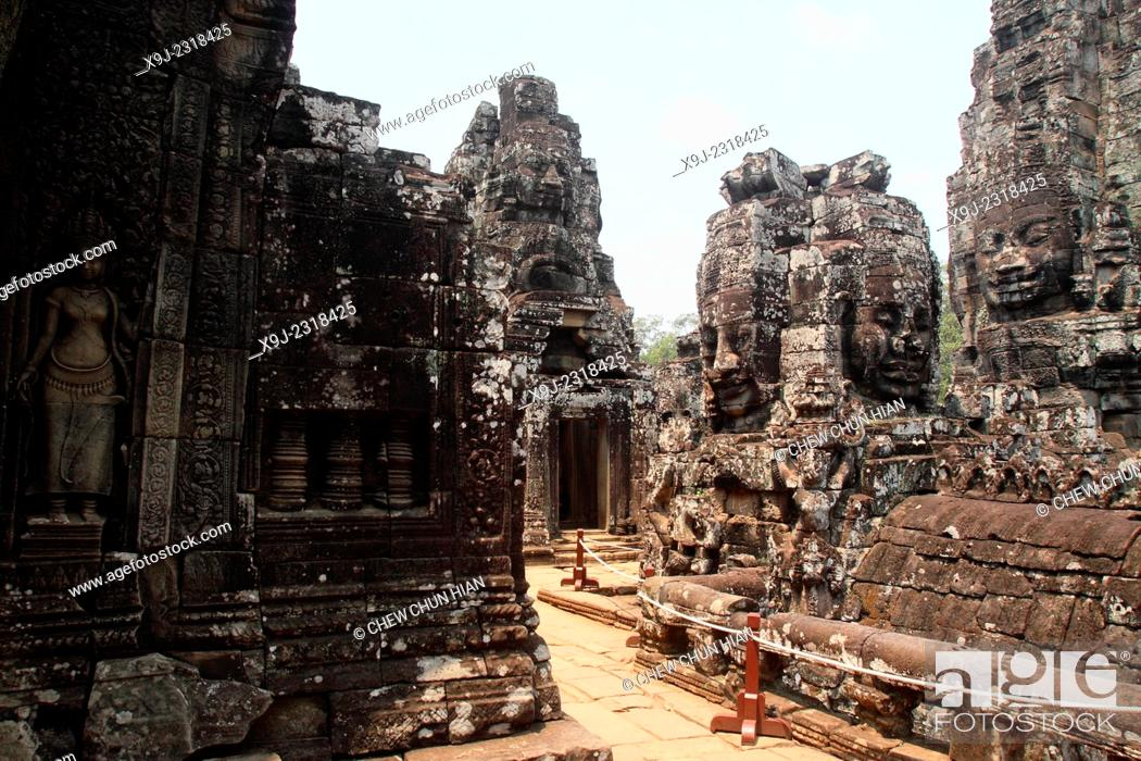 Stock Photo: Bayon Temple in the Angkor Thom Area, Siam Reap, Cambodia.