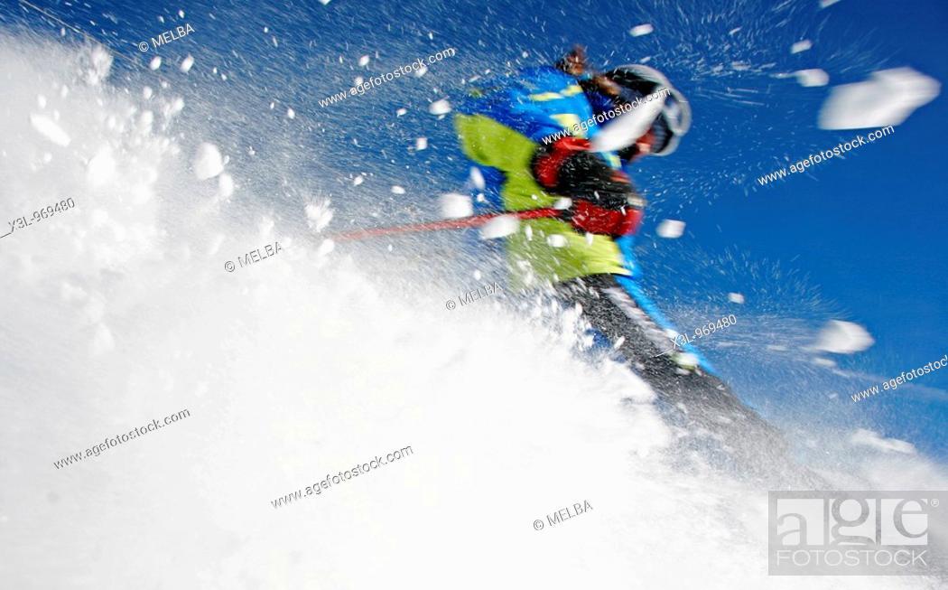 Stock Photo: Skiing in Aran Valley  Pyrenees Catalonia, Spain.