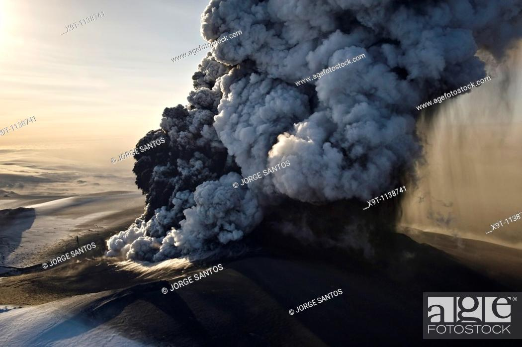 Stock Photo: Image of the phreatic explosions at sunrise that produced substantial amounts of ash, steam and Ice.