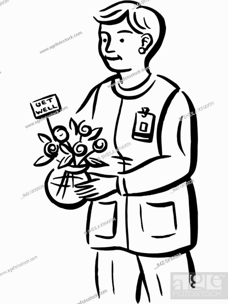 Stock Photo: Drawing of a nurse delivering a vase of flowers.