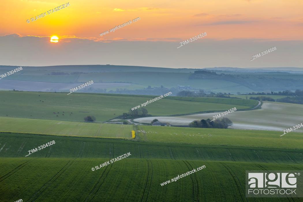 Stock Photo: Sunrise in South Downs National Park in West Sussex, England.