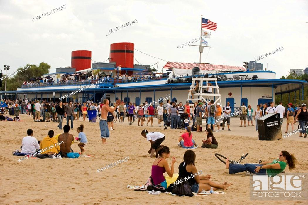Stock Photo The Castaways Bar And Grill On North Avenue Beach Chicago Illinois